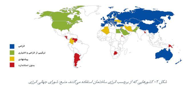 کشورهایی که از برچسب انرژی ساختمان استفاده میکنند